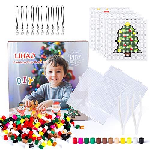 LIHAO Mini Cuentas Plásticas para Planchar 9 Patrones Navideños Abalorios Colores para DIY Manualidad Regalo Navidad (5MM)