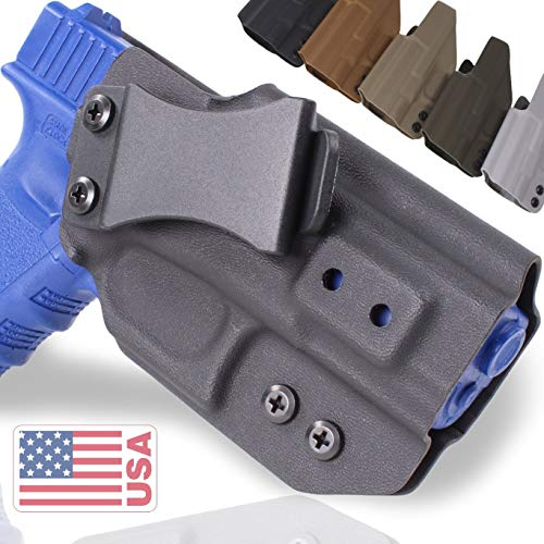 """QuickClip Pro Tuckable IWB KYDEX Gun Holster - Concealed Carry Multiple Adjustable Belt Clips - 100% US Made - Inside Waistband (Springfield XD-S 9/40/45 (3.3""""), Grey Right Hand Draw (IWB))"""