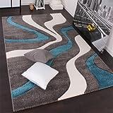 Paco Home Alfombra De Diseño Perfilado - Estampado De Ondas - Gris Turquesa Blanco, tamaño:80x150 cm