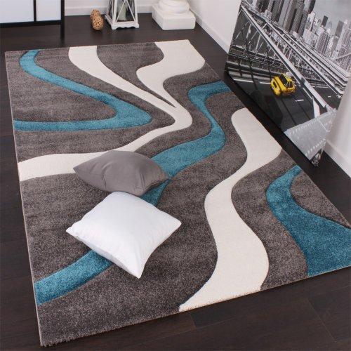 Paco Home Alfombra De Diseño Perfilado - Estampado De Ondas - Gris Turquesa Blanco, tamaño:160x230 cm