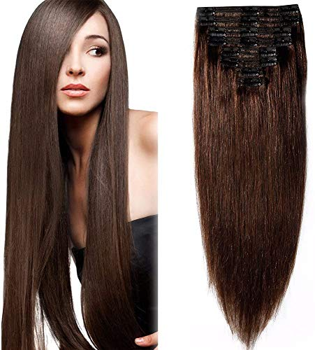 Extension a Clip Cheveux Naturel MAXI VOLUME Rajout 8 Bandes - Double Weft Clip in Remy Human Hair Extensions (#02 Chocolat foncé, 25cm-110g)