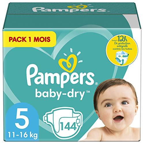 Pampers Couches Baby-Dry Taille 5 (11-16kg) Jusqu'à 12h Bien Au Sec et Avec Double-Barrière Anti-Fuites, 144 Couches (Pack 1 Mois)