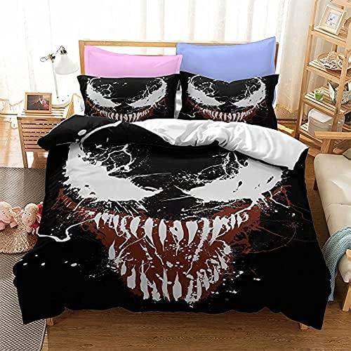 WMSYJR Venom Venom - Set di biancheria da letto, 100% microfibra, per ragazzi, 3 pezzi, con 2 federe (Venom1,155 x 220 cm + 50 x 75 cm x 2)