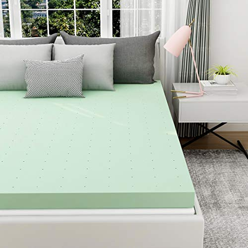 Milemont Mattress Topper California King, 3 Inch Gel Infused Memory Foam Cushioning Green Tea Mattress Topper Pad for CK Bed
