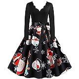 Kobay-Damen Retro 1950er Audrey Hepburn V-Ausschnitt Weihnachtsfeier Kleid Gedruckt Langarm Typ A,...