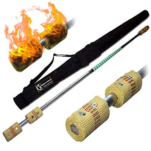 Pro Bâton de Feu (160cm/4x65mm Meche) + Flames N Games Sac de Voyage! Staff de Feu AKA Fire Staff Inflammable Professionnel Bâtons Indien, Large Flammes!