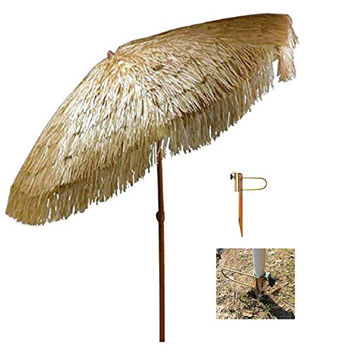 Hula Stroh Tiki Sonnenschirm 200 cm Strandschirm im hawaiianischen Stil, Neigbar/einstellbar Für Garten, Deck, Strand CMXZ