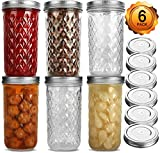 Wide Mouth Mason Jars 22 oz, VERONES 22 OZ Mason Jars Canning Jars Jelly Jars With Wide Mouth Lids, Ideal for Jam, Honey, Wedding Favors, Shower Favors, Baby Foods, 6 PACK,EXTRA 6 Lids with Straw Hole