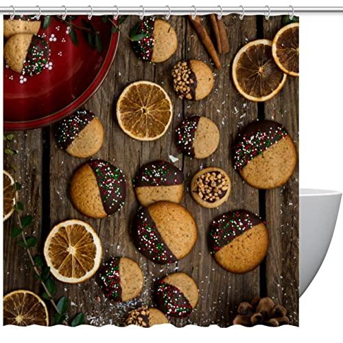 Duschvorhang Lebkuchen-Schokoladen-Kekse Holzbrett für Badezimmer