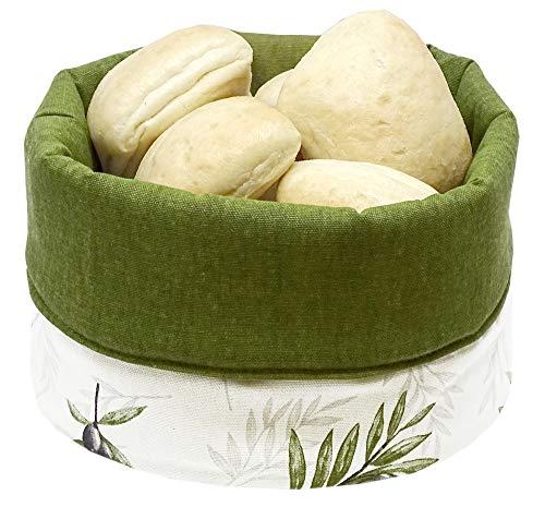 Lashuma Körbchen rund für Brot, Stoffkorb für Brötchen Motiv: Olive, Brotbeutel grün 13x22 cm