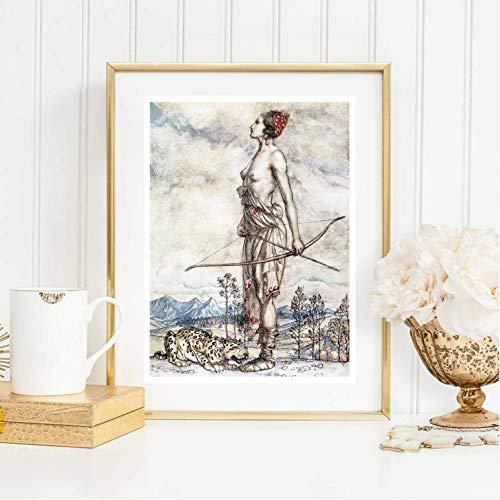 Din A4 Kunstdruck ungerahmt - Arthur Rackham - Göttin Diana, Jagd, Jägerin, Mythologie Fantasie, Shabby Chic, Gemälde, Deko, Geschenk Druck Poster Bild