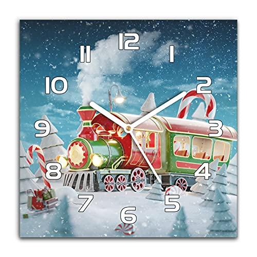 Coloray Reloj De Pared Navidad 30x30 cm Vidrio Templado Decorativo Moderno Cocina Manecillas Blanco Moderno Grande Silencioso - Árboles de Tren de Navidad Lollipop Snow