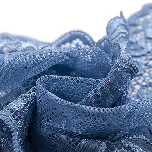 Ldawy Tela de encaje, cinta de encaje, 18x1000 cm Rollo de encaje floral vintage para coser bodas nupciales Navidad Pascua festoneado Bordado Bordado Decoración Tarjetas Manualidades DIY (Azul)