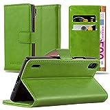 Cadorabo Custodia Libro per Huawei P7 in Verde Erbe - con Vani di Carte, Funzione Stand e Chiusura Magnetica - Portafoglio Cover Case Wallet Book Etui Protezione