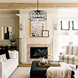 Maxax 5 Lights Round Crystal Chandelier, Raindrop Ceiling Lighting Beaded Drum Shade, Adjustable Pendant Hanging Light for Dining Room, Living Room, Kitchen, E12 Base, Black
