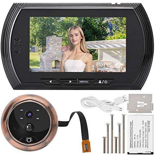 Deurtelefoon, 4,5-inch 2MP HD video-opname deurbel foto-opname elektronische camera deurtelefoon, eenvoudig te installeren (zwart)