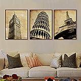 LZASMMVP 3 Piezas Vintage Retro Travel Paris London City Torre Eiffel Art Print Poster Shabby Chic Cuadro de Pared Lienzo Pintura Decoración para el hogar   50x70cmx3 Sin Marco