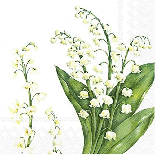 IHR Festive può Bianco Mughetti Fiori Tradizionale da tavola tovaglioli 20in Confezione