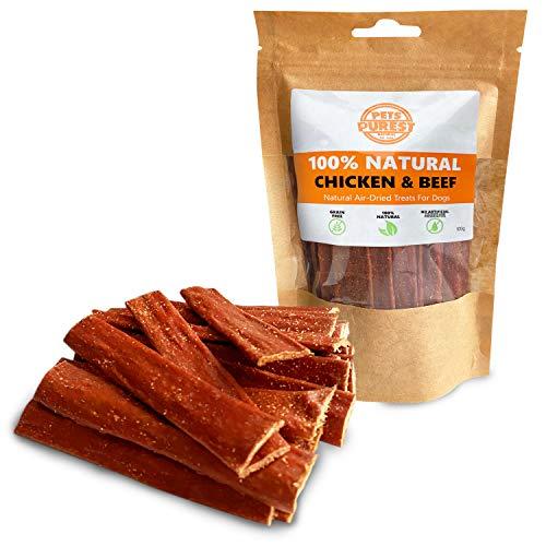 Pets Purest Bocadillos para Perros Natural 100% Carne de Res y Pollo Secada al Aire – Dos Ingredientes – Libre Granos, Gluten y Lactosa –Bocadillos Saludables Perros Cachorros (100g)