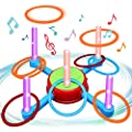Ring Toss Outdoor Games for Kids,Toys for 3 4 5 6 7 8 Year Old Boys Girls Lawn Backyard Games,Indoor Family Party Activity Games for Kids Ages 4-8 Rotate Music LED Lights