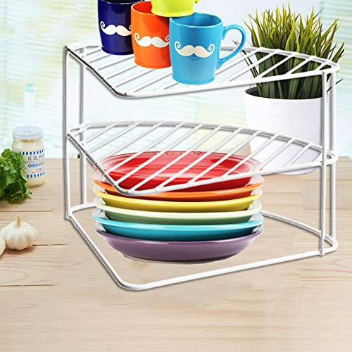 FB FunkyBuys 3 Tier White Steel Corner Kitchen Plates Rack Tidy Cupboard Organizer Storage Space Saver Shelf Dryer- 23x34x25 cm-(SI-K1036)