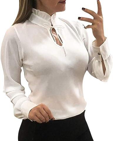 Blusa de gasa para mujer con cuello alto, camisa y corbata ...