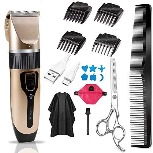 Innoo Tech Tondeuse Cheveux Hommes professionnelle sans fil, Lames Céramique/Acier inoxydable Avancée avec 4 sabots, Coupe de cheveux précision 0.8-2.0 mm, USB Charge Rapide