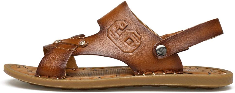 Mode Schuhe, hochwertige Standardschuhe Herren Handarbeit Nhen Sandale Slipper Echtes Leder Abnehmbarer Knchelriemen Zwei Mglichkeiten, Schuhe zu tragen