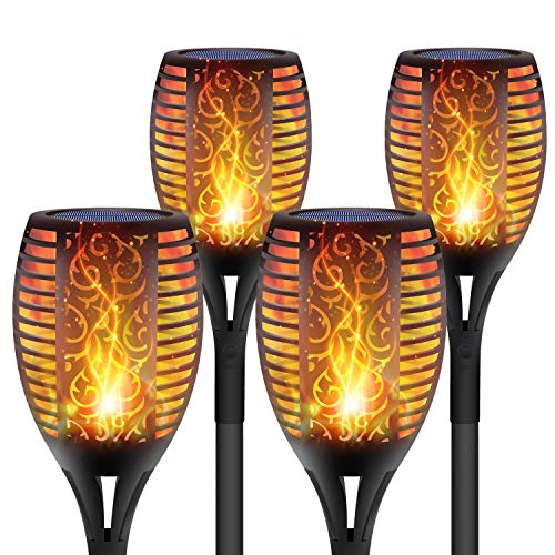 DIKAIDA 4 Pack Solar Torch Lights Upgraded, Waterproof Flickering Flame Solar Torches Dancing Flames...