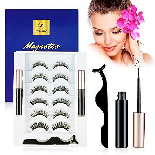 Magnetic Eyelashes Kit, WanderLand Magnetic Eyelashes and Eyeliner Magnetic Lashes Set, 6 Pairs Reusable False Eyelashes& 2 Magnetic Eyeliner with Tweezers- No Glue Needed