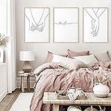 MKWDBBNM Amante de la línea de Dibujo Moderno tomados de la Mano Cartel nórdico Abstracto Arte Lienzo Impreso Pintura hogar Decorativo Cuadro de Pared Minimalista | 50x70cmx3 sin Marco