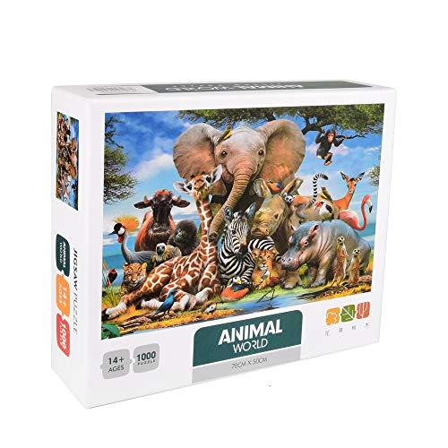ewtshop® Puzzle Lustige Tiere, 1000 Teile, 70 x 50 cm, schwieriges Puzzle