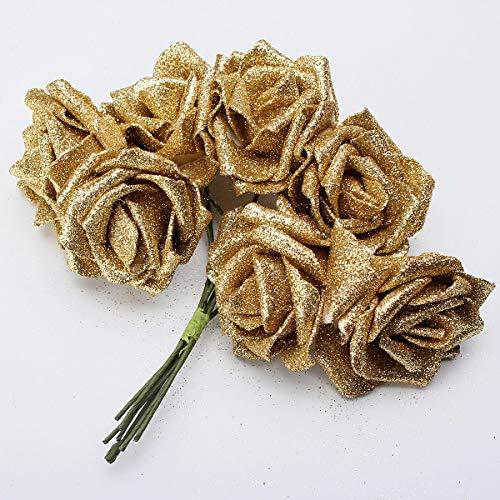 Zay Luay Home 7pcs Artificiale Bouquet Glitter Schiuma Fiori Artificiali Bridal Bridal Decor Fai da Te Rosa (Color : Gold)