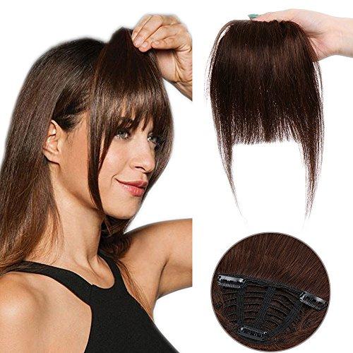 Clip in Pony 100% Remy Echthaar Fringe Bangs One Piece Haarteil In Front Hair Extension Verlängerung natürliche glatt Mittelbraun# Pony-25 g