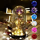 Galaxy Enchanted Rose flower gift, Colorful Flower Rose Gifts for Women,4 in 1 Gift Pack Purple Rose Gift in Glass Dome with String Light Valentine's Day Home Decorations Birthday (Galaxy Purple Rose)