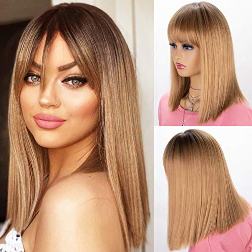 K'ryssma Short Bob Ombre Blonde Wig with Dark Roots Short Straight Bob Synthetic Wig with Bangs Blonde Ombre Wigs for Women