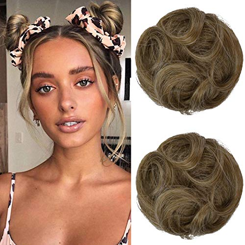 REECHO 2 PCS Mini Claw Clip in Messy & Cat Ears Curly Wavy Hair Bun Extensions Wig Accessory Updo Hairpieces for Women Girls - Dark Blonde