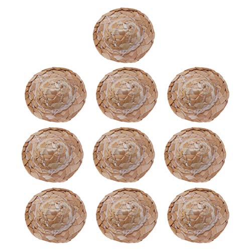TOYANDONA 12 stücke Mini Puppe Strohhut natürliche Stroh Miniatur Puppe hüte Hand Stricken strohmützen DIY Handwerk für puppenhaus fee Garten zubehör 2 Zoll