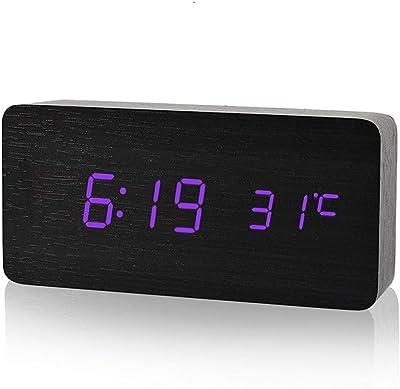 QZTG Despertador Digital Exhibición del Reloj De Alarma Led De Madera Fecha + Hora + Temperatura