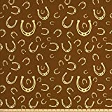 Ambesonne Western Fabric by The Yard, Horse Shoe Motif Vintage Pattern with Star Barn Lucky Charm Design, Decorative Fabric for Upholstery and Home Accents, 2 Yards, Yellow Brown