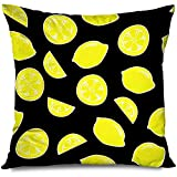 Funda de Almohada de Tiro Elementos Cuadrados Texturas de limón Texturas Diseño sin Costuras Lindo Comida Vegana Bebida exótica Dulce Salud En rodajas Funda de Almohada Decorativa