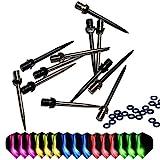 ToBeit - Puntas de dardos de acero, 12 unidades, puntas intercambiables de metal 2BA Plus para dardos (cortas)