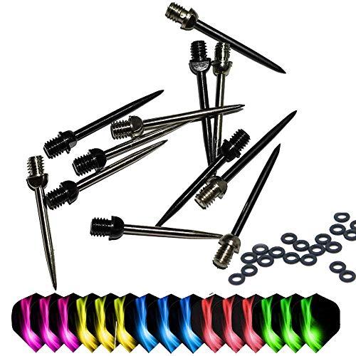 ToBeIT Dartspitzen Stahl 12 Stücke - Wechselspitzen aus Metall 2BA Plus Dart GummiringeDart Zubehör Set geeigent für Steeldart