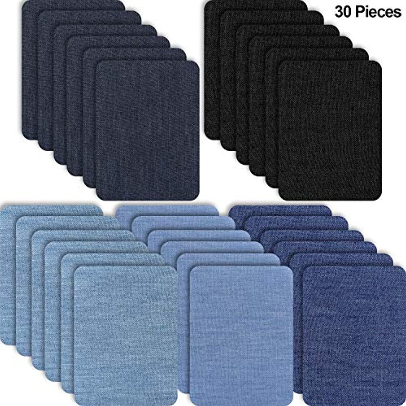 30 Pieces Iron on Fabric Patches Denim Jean Repair Patches Clothing Repair Patch Kit for Jacket Jean Clothes (Color Set 2)