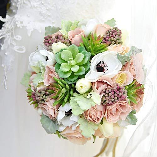 "Yokoke Wedding Bridal Bridesmaid Bouquet Wedding Holding Flower Artificial Peony Rose Green Succulent Berry 7"" for Wedding Church Party Home Decor (Bouquet)"