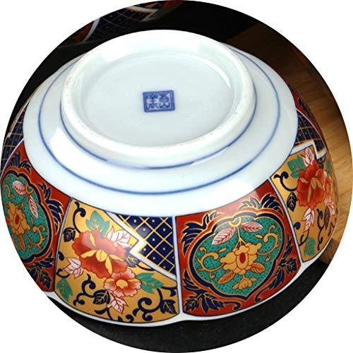 Saladiers Bowl Main Tian Kiln Céramique Maison Ramen Bowl Petit Déjeuner Bol À Soupe Instantanée Noodle Bowl Imprimé Chinois Retro Bowl (Color : Blanc, Size : 12 * 5.3cm)