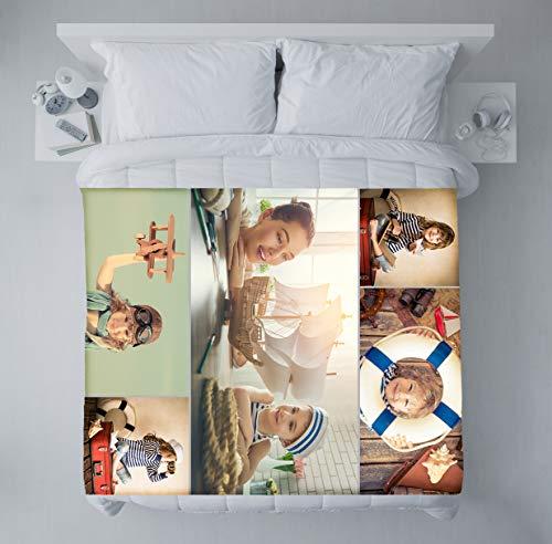 fatfoto Fotodecke mit eigenen Fotos und Text gestalten - Bedruckte Kuscheldecke - personalisiertes Fotogeschenk - Decke mit Collage (75 x 100 cm, 5 Bilder - Collage)