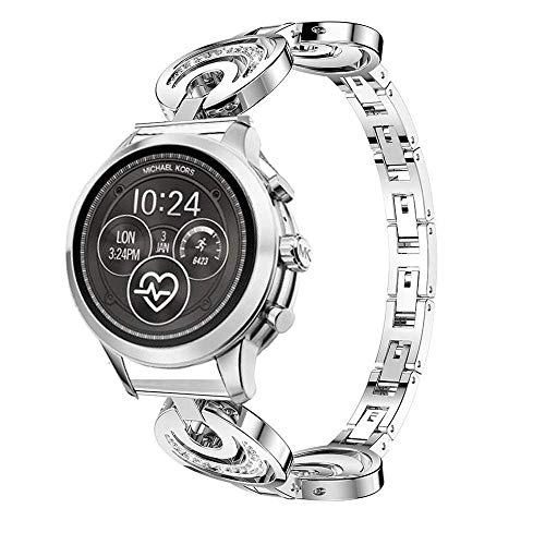 LvBU Classic Edelstahl Uhrenarmband Kompatibel für Michael Kors Access Runway Smartwatch (Sterne und Mond-Silber)