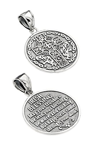 925 Sterling Silver Reversible Irish Blessing Charm Pendant