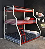 Royal Interiors Abigali Triple Size Metal Bunk Cot Bed - Frame Only, Mattress not Included (White & Red)